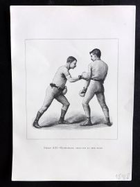 Badminton Library 1889 Boxing Print. Right-Hand Lead-Off at the Body.